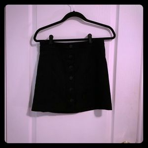 Black Faux Suede Button Up Skirt